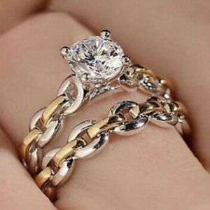 New Sterling silver two tone engagement ring set